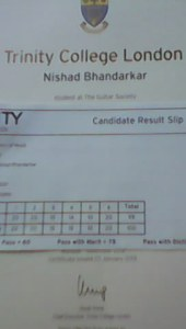 Nishad Bhandarkar Distinction with Merrit 99/100 Grade I