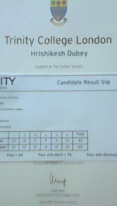 Hrishikesh Dube Distinction Holder Grade II